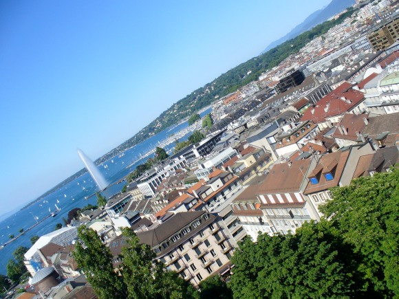 View of Geneva from the top of the cathedral